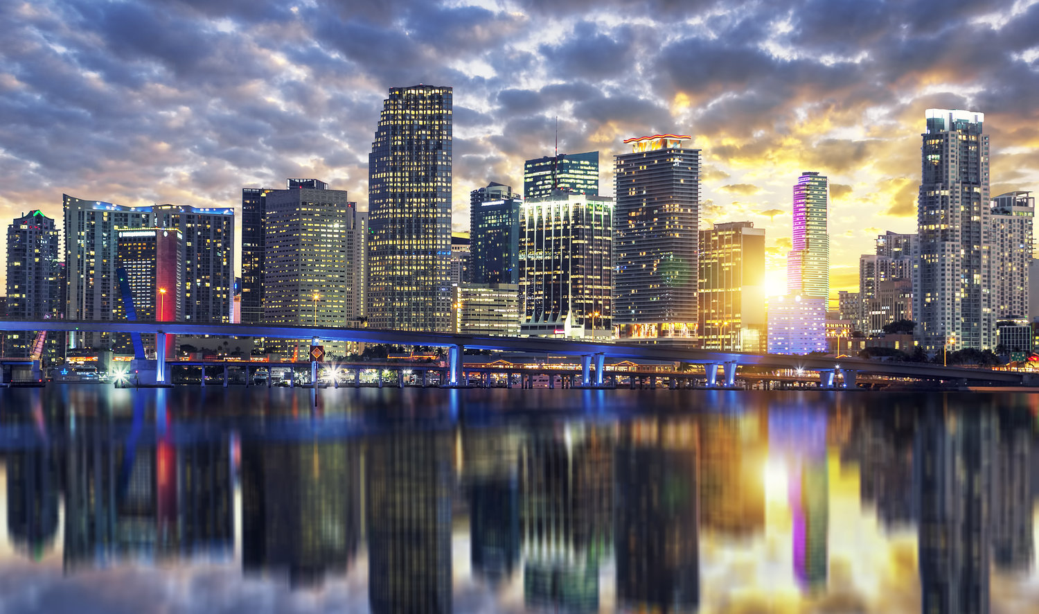 View of Miami buildings at sunset, USA
